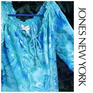 Jones New York Tie Dye Oversized Comfy Boho Blouse